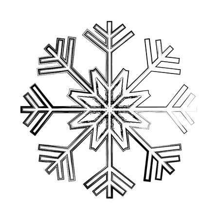 grunge nature snowflake style in winter season vector illustration  イラスト・ベクター素材