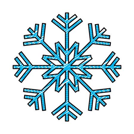 doodle nature snowflake design in winter season vector illustration