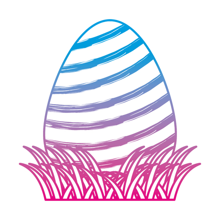 degraded line egg easte with lineal decoration to celebrate vector illustration Ilustrace