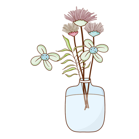 exotic flowers preserves inside mason jar vector illustration