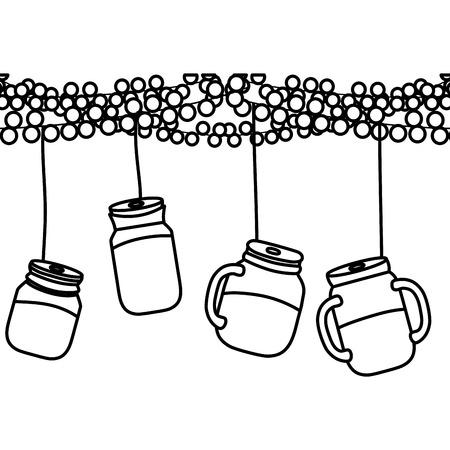 line party decoation with glass bottle hanging Illustration
