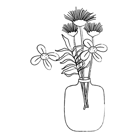 grunge exotic flowers preserves inside mason jar