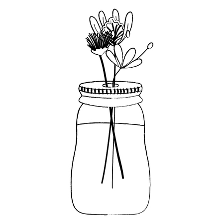 grunge exotic flowers plant inside glass mason