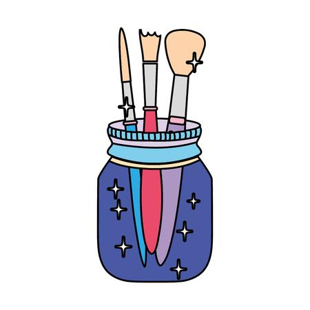 color artistic paintbrushes inside crystal bottle object Illustration