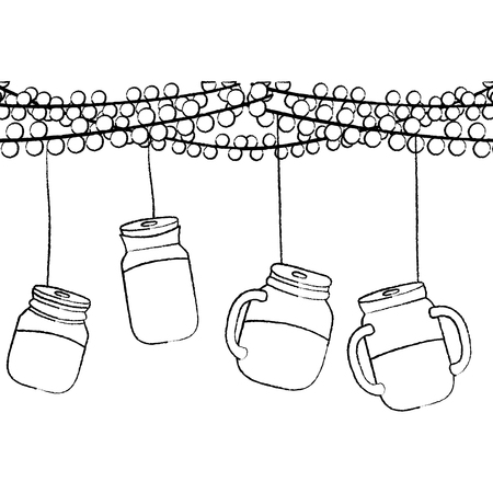 grunge party decoation with glass bottle hanging Illustration