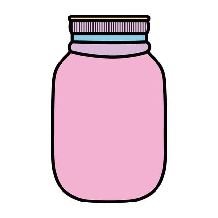 Color fragile glass bottle preserve object vector