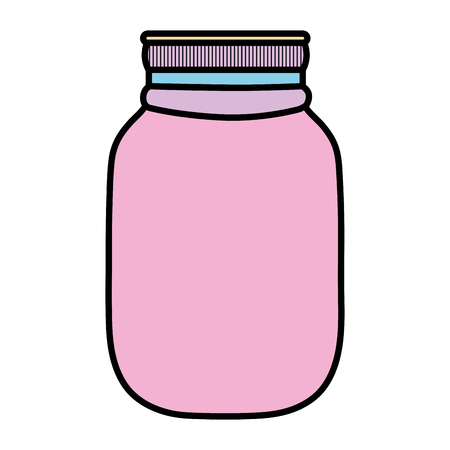 Color fragile glass bottle preserve object vector