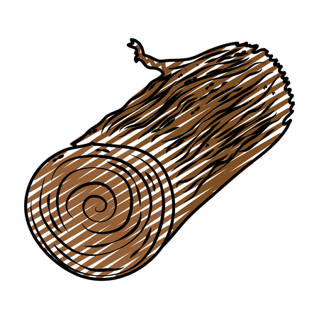 Doodle illustration of natural wooden log, exotic texture.