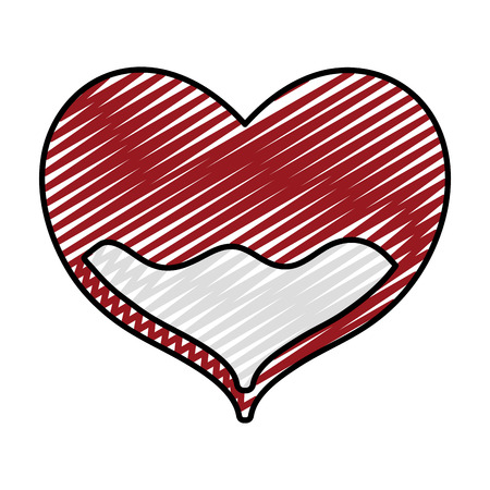 Doodle, colored illustration of  heart with blood inside to donation treatment event Иллюстрация