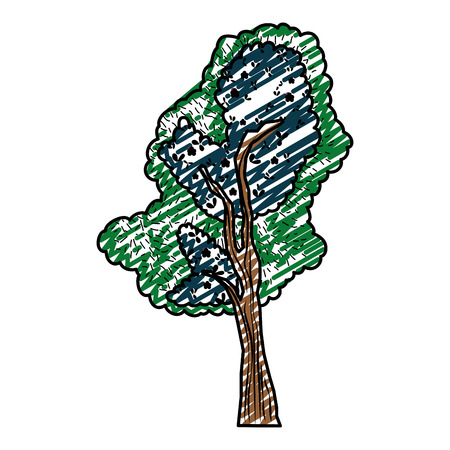 Doodle, colored illustration of  tree stalk with exotic leaves branches
