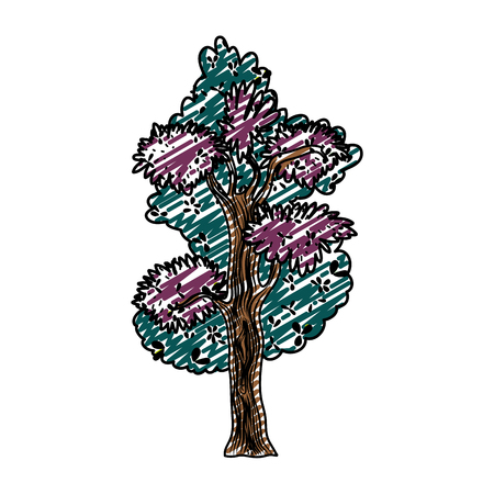 Doodle, colored illustration of  tree stalk with exotic branches leaves