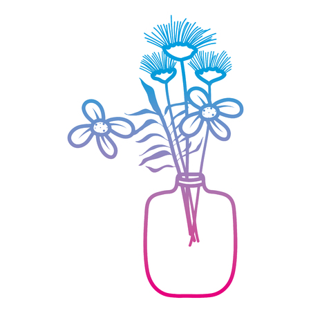 degraded line exotic flowers preserves inside mason jar vector illustration