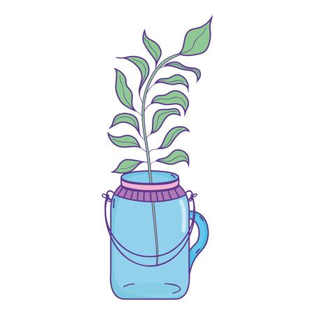 plant with leaves inside preserve mason jar vector illustration