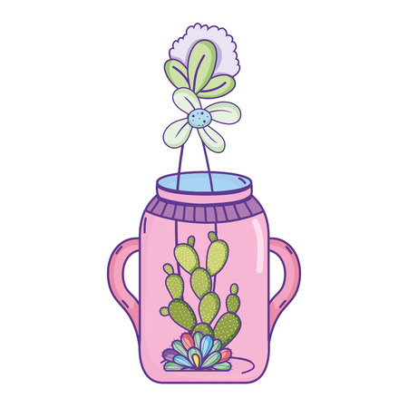 flower with cactus plant inside mason jar vector illustration Illustration