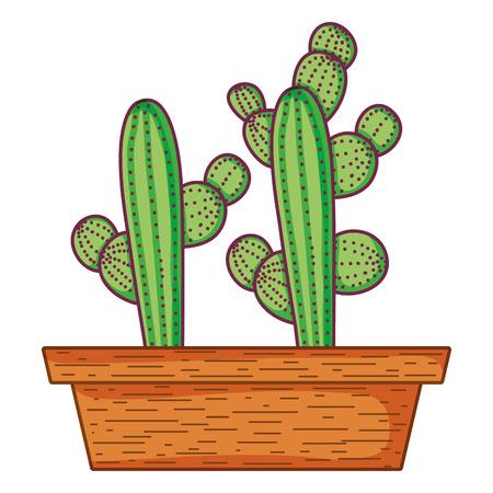 cactus nature desert plant inside flowerpot vector illustration