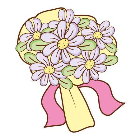 beautiful bouquet flowers with leaves and ribbon vector illustration Illustration