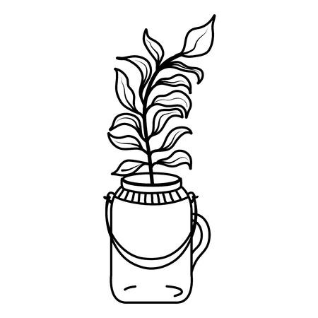 line plant with leaves inside preserve mason jar vector illustration