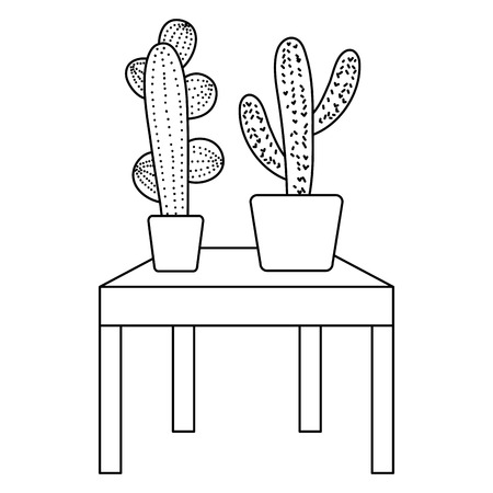 line nature cactus plant inside flowerpot in the table vector illustration