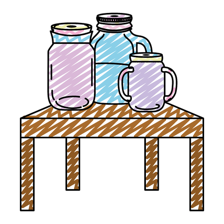 doodle mason jar with water preserve in the table vector illustration