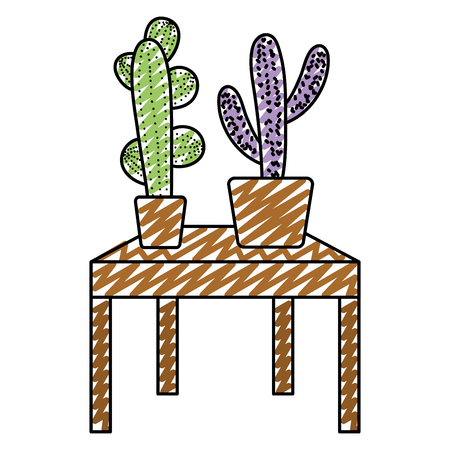 doodle nature cactus plant inside flowerpot in the table vector illustration