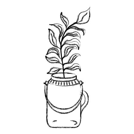 grunge plant with leaves inside preserve mason jar vector illustration