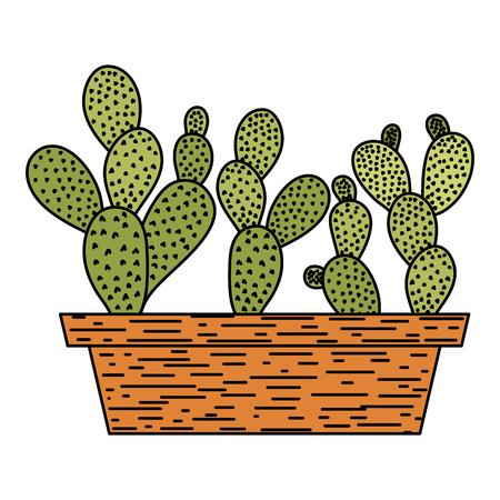 color desert and nature cactus plant inside flowerpot vector illustration
