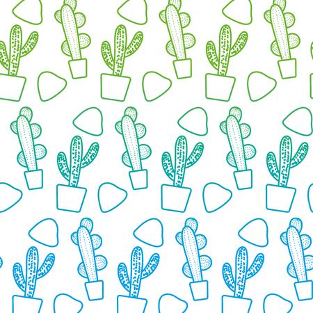 degraded line cactus plant inside flowerpot and stones background vector illustration