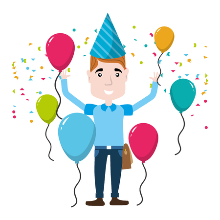 man celebrating happy birthday with balloons and hat vector illustration