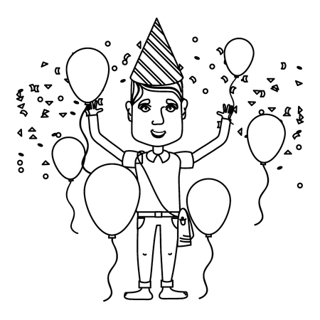 line man celebrating happy birthday with balloons and hat vector illustration