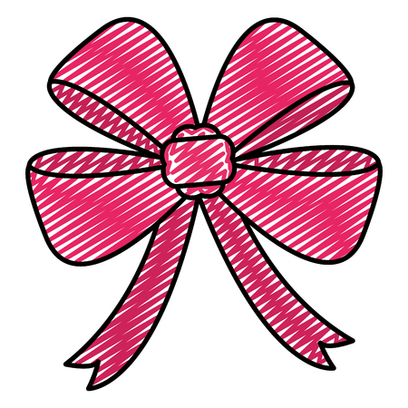 doodle cute ribbon bow accesory design vector illustration