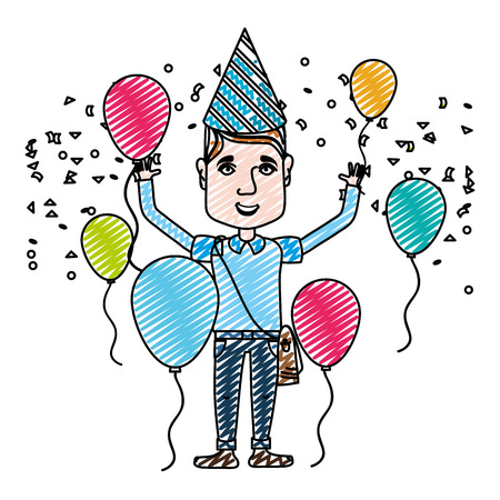 doodle man celebrating happy birthday with balloons and hat vector illustration
