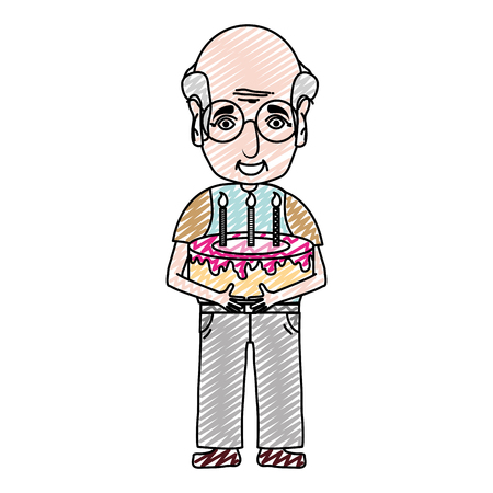 doodle old man with cake and candles to party vector illustration  イラスト・ベクター素材