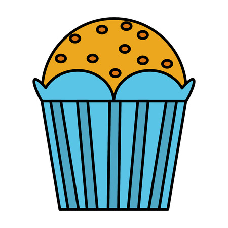 color delicious dessert muffin sweet food vector illustration