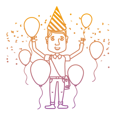 Degraded line man celebrating happy birthday with balloons and hat