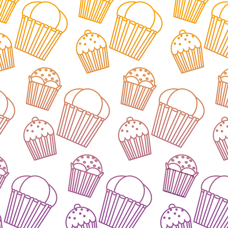Degraded line delicious sweet muffin dessert background