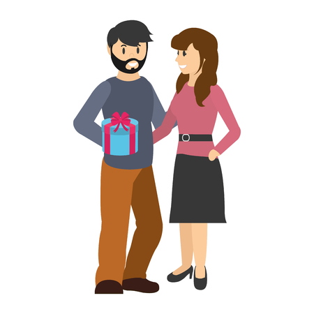 Man with present gift and happy woman Illustration