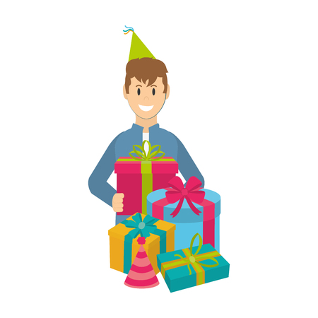 Happy man with presents and party hat