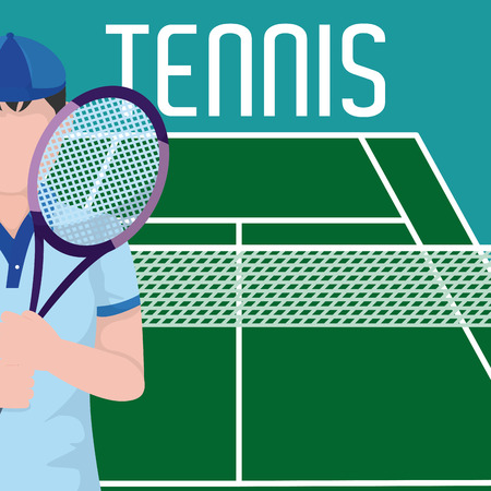 Tennis player on field template vector illustration