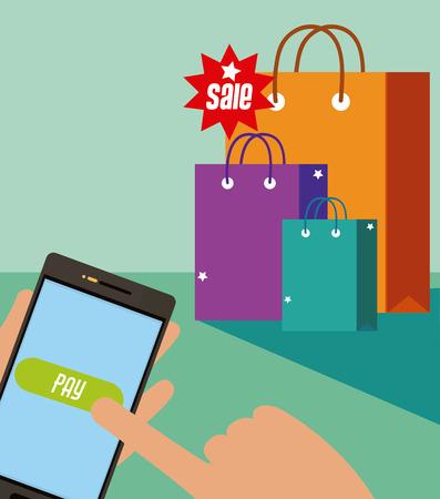 Shopping online from smartphone concept vector illustration Illustration