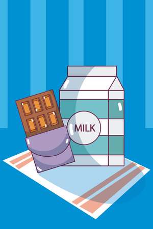 Milk box and chocolate template vector illustration