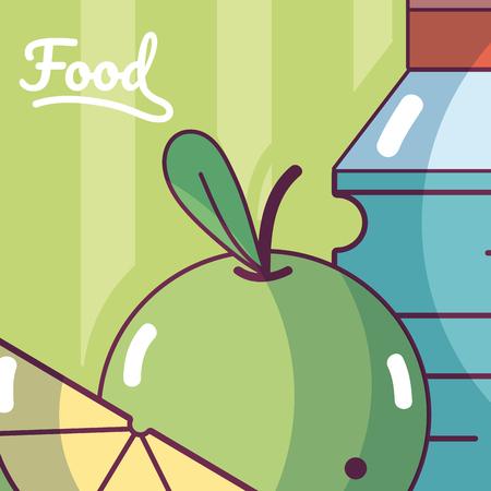 Water bottle and apple template vector illustration Illustration