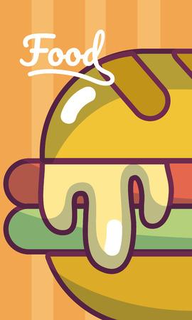 Hamburger fast food concept cartoon template vector illustration