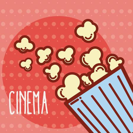 Pop corn box cinema cartoon template vector illustration