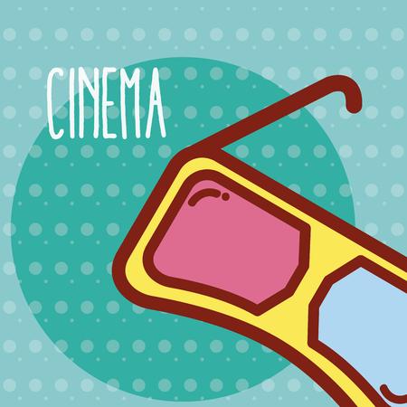 3d glasses cinema cartoon template vector illustration Illustration