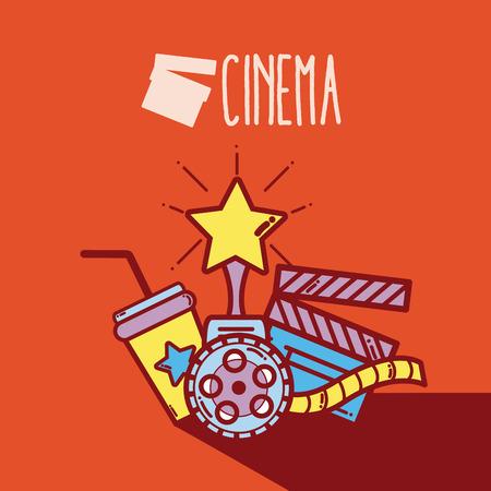 Cute cinema cartoons concept cinema cartoon template vector illustration Illustration