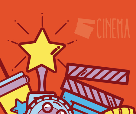 Cinema cartoons design poster template vector illustration Illustration