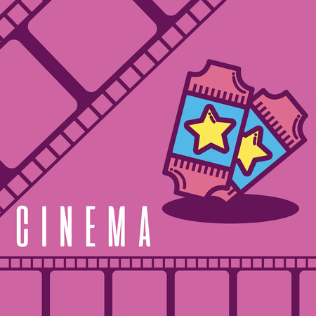 Cinema cartoon symbol over reel background Illustration