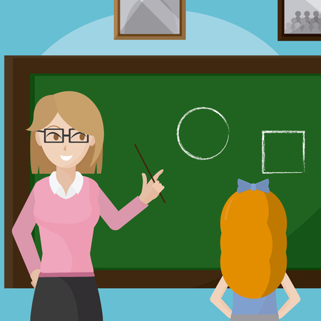 Teacher giving a class to school girl cartoons vector illustration graphic design