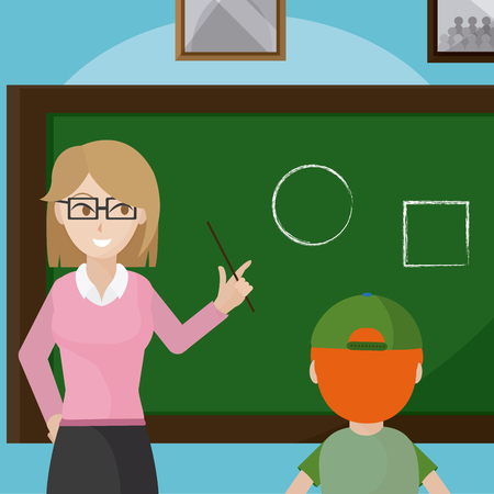 Teacher giving class to school boy cartoon vector illustration graphic design