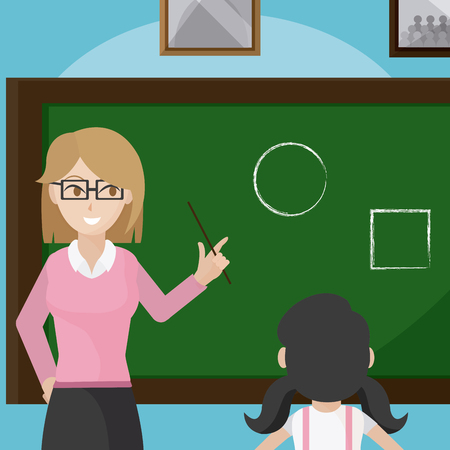 Teacher giving a class to school girl cartoons vector illustration graphic design Zdjęcie Seryjne - 100292489
